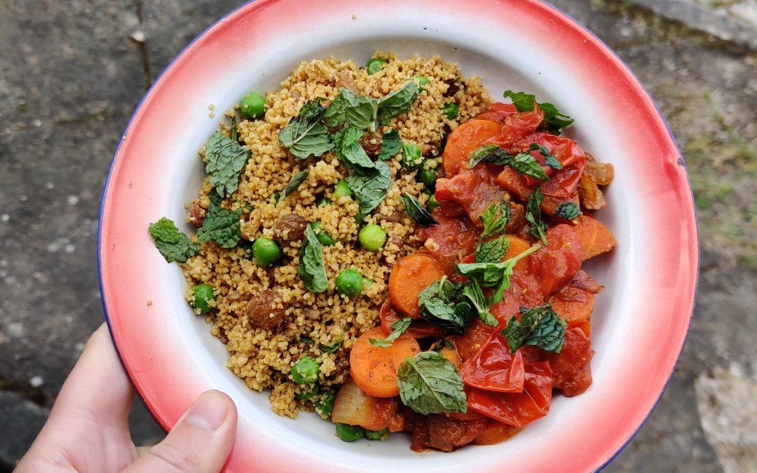 Couscous met tomaten wortelstoof