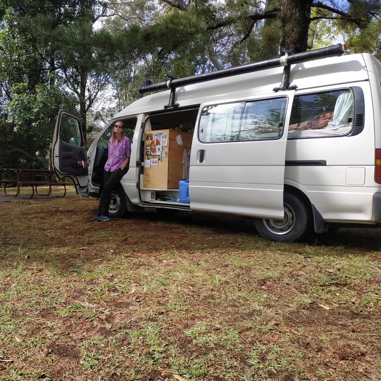 VanVerhslen campervan nummer 2. Tonnie. In Australië converted Toyota Hiace